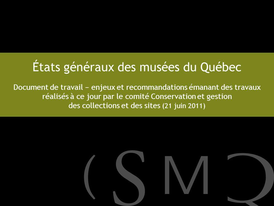 États généraux des musées du Québec Document de travail enjeux et recommandations émanant des travaux réalisés à ce jour par le comité Conservation et