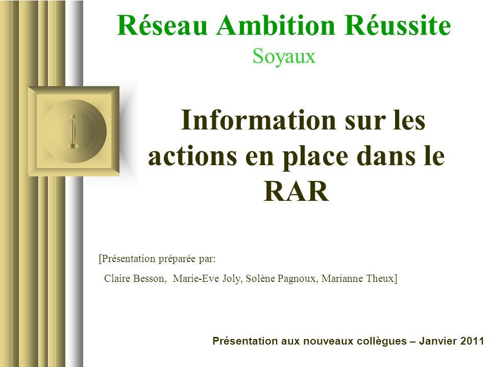 Réseau Ambition Réussite Soyaux Cette présentation donnera probablement lieu à des discussions d'où ressortiront des propositions d'action. Utilisez P