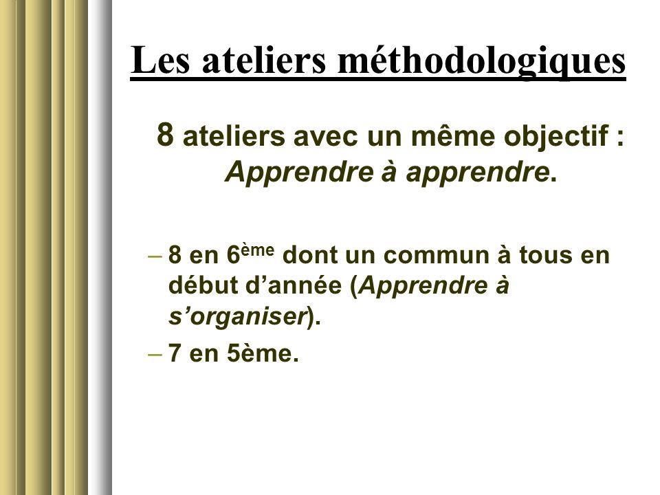 Les ateliers méthodologiques 8 ateliers avec un même objectif : Apprendre à apprendre.