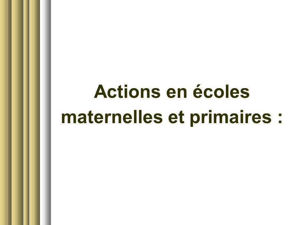 Actions en écoles maternelles et primaires :
