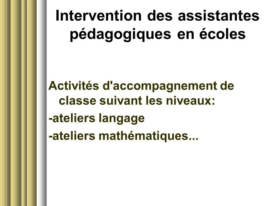 Intervention des assistantes pédagogiques en écoles Activités d'accompagnement de classe suivant les niveaux: -ateliers langage -ateliers mathématique