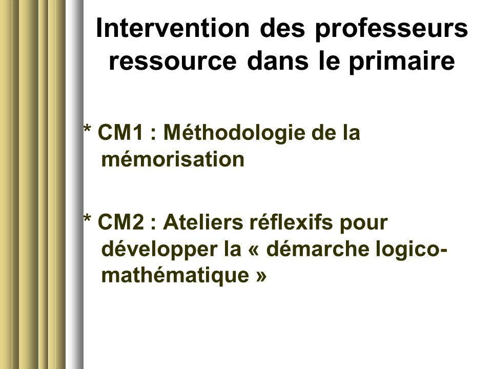 Intervention des professeurs ressource dans le primaire * CM1 : Méthodologie de la mémorisation * CM2 : Ateliers réflexifs pour développer la « démarche logico- mathématique »