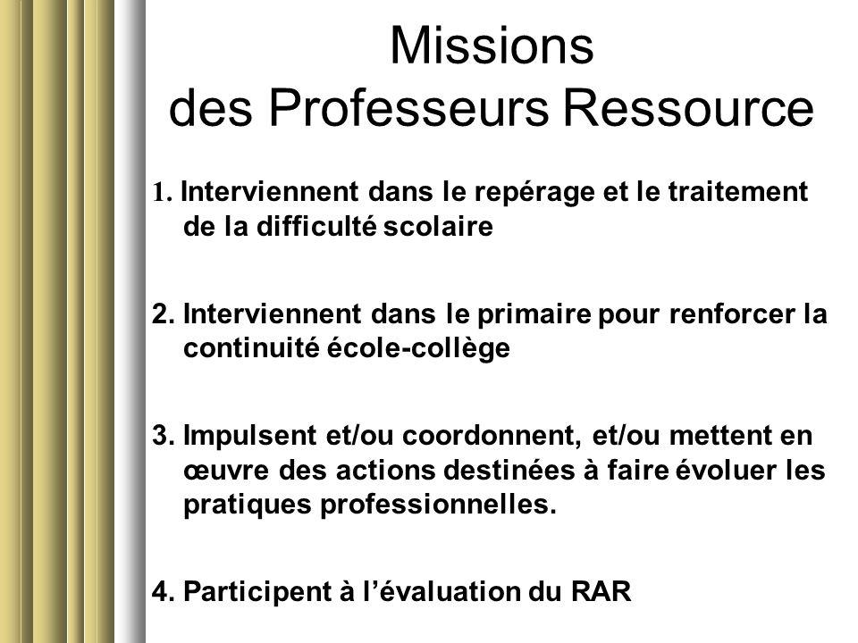 Missions des Professeurs Ressource 1. Interviennent dans le repérage et le traitement de la difficulté scolaire 2. Interviennent dans le primaire pour