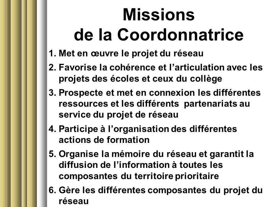 Missions de la Coordonnatrice 1. Met en œuvre le projet du réseau 2. Favorise la cohérence et larticulation avec les projets des écoles et ceux du col