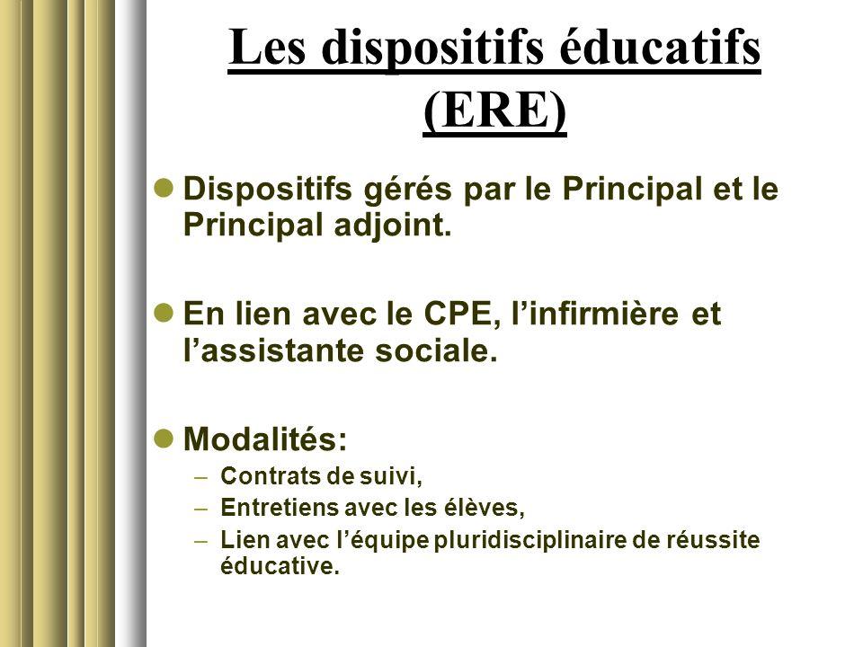 Les dispositifs éducatifs (ERE) Dispositifs gérés par le Principal et le Principal adjoint. En lien avec le CPE, linfirmière et lassistante sociale. M