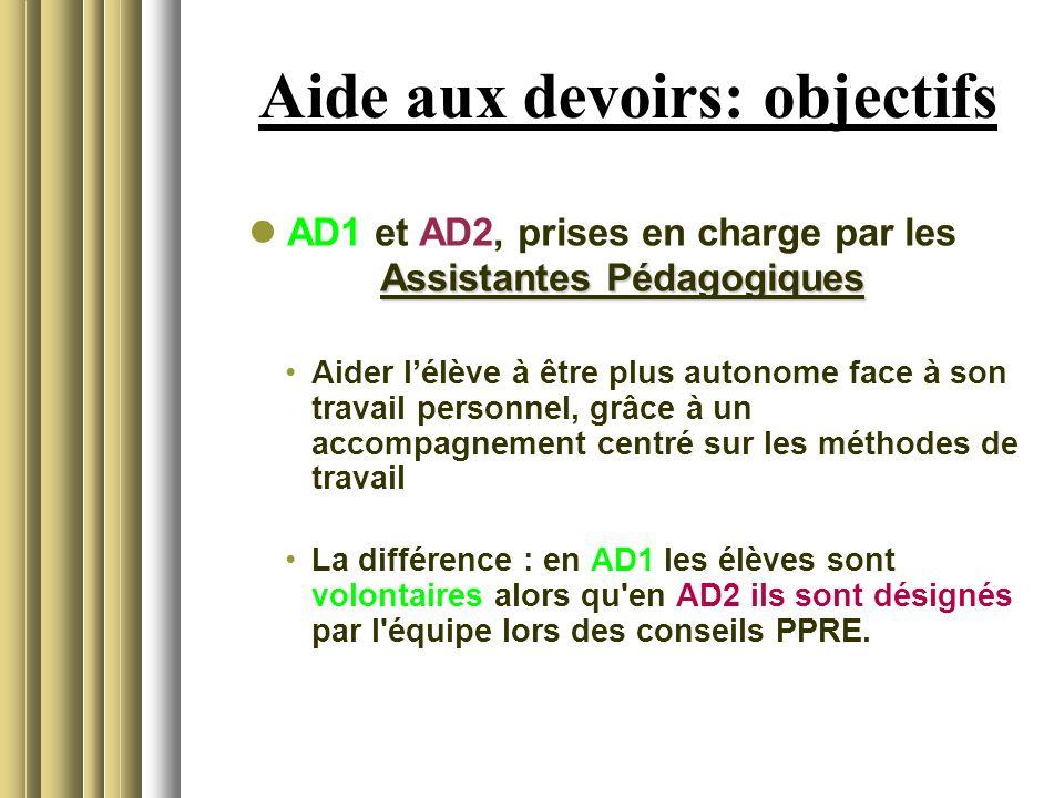 Aide aux devoirs: objectifs Assistantes Pédagogiques AD1 et AD2, prises en charge par les Assistantes Pédagogiques Aider lélève à être plus autonome f