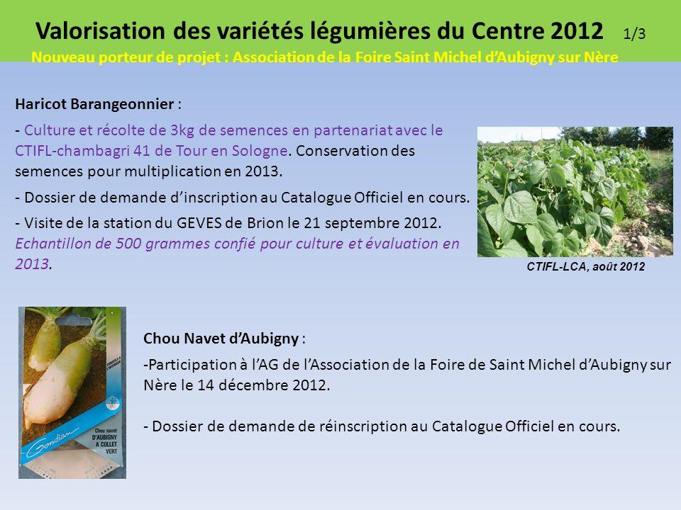Valorisation des variétés légumières du Centre 2012 1/3 Haricot Barangeonnier : - Culture et récolte de 3kg de semences en partenariat avec le CTIFL-chambagri 41 de Tour en Sologne.