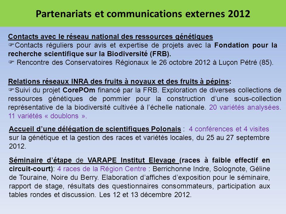 Partenariats et communications externes 2012 Contacts avec le réseau national des ressources génétiques Contacts réguliers pour avis et expertise de projets avec la Fondation pour la recherche scientifique sur la Biodiversité (FRB).