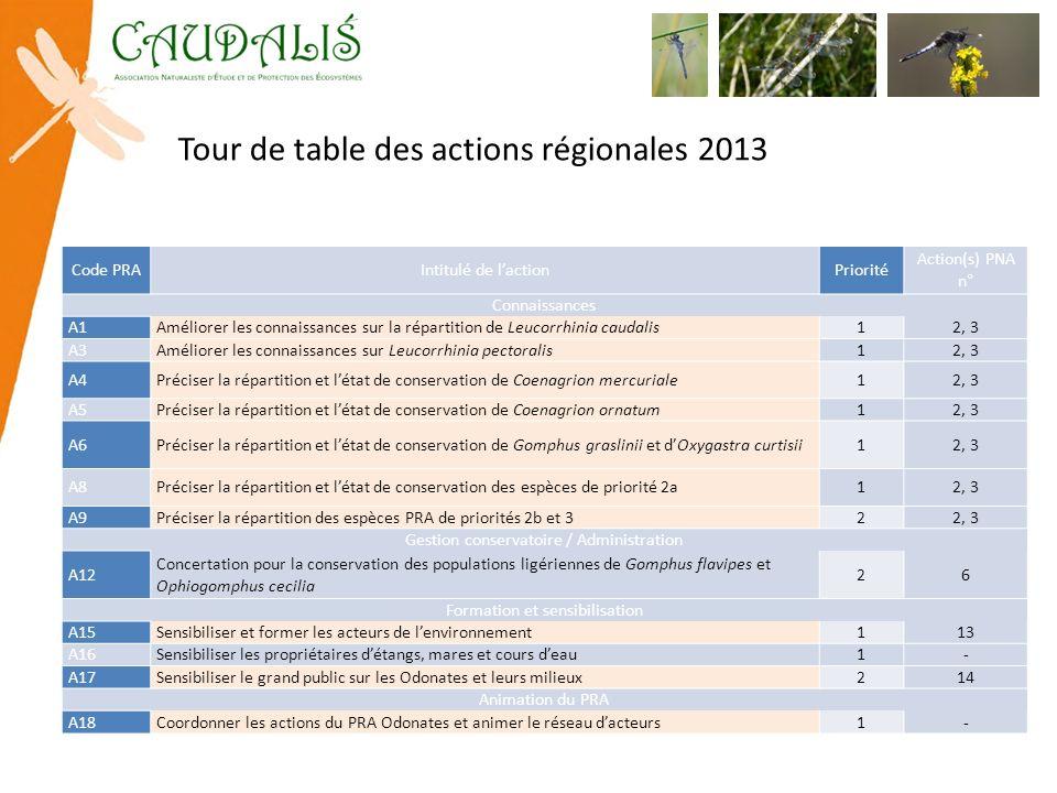 Tour de table des actions régionales 2013 Code PRAIntitulé de lactionPriorité Action(s) PNA n° Connaissances A1Améliorer les connaissances sur la répa