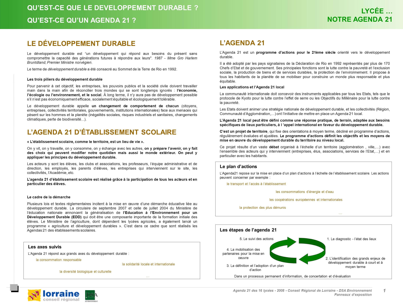 Agenda 21 des 16 lycées - 2008 - Conseil Régional de Lorraine - DSA Environnement Panneaux dexposition 1 1 QUEST-CE QUE LE DEVELOPPEMENT DURABLE ? QUE