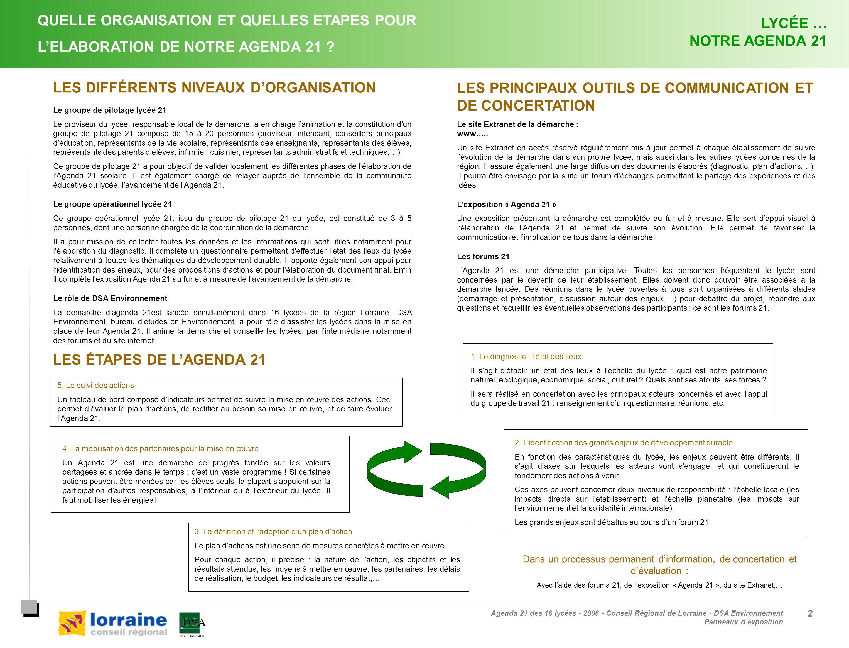 Agenda 21 des 16 lycées - 2008 - Conseil Régional de Lorraine - DSA Environnement Panneaux dexposition 2 2 QUELLE ORGANISATION ET QUELLES ETAPES POUR LELABORATION DE NOTRE AGENDA 21 .