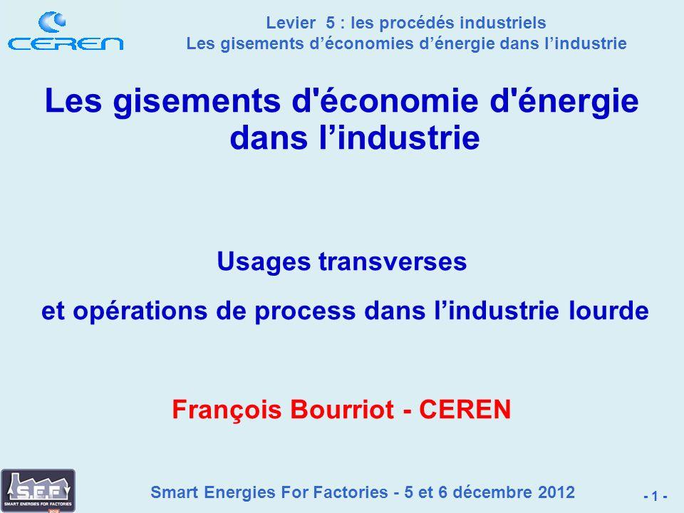 Smart Energies For Factories - 5 et 6 décembre 2012 Levier 5 : les procédés industriels Les gisements déconomies dénergie dans lindustrie 5.