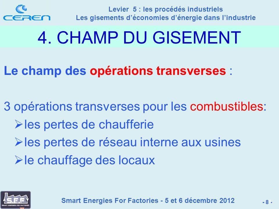 Smart Energies For Factories - 5 et 6 décembre 2012 Levier 5 : les procédés industriels Les gisements déconomies dénergie dans lindustrie - 8 - 8 4.