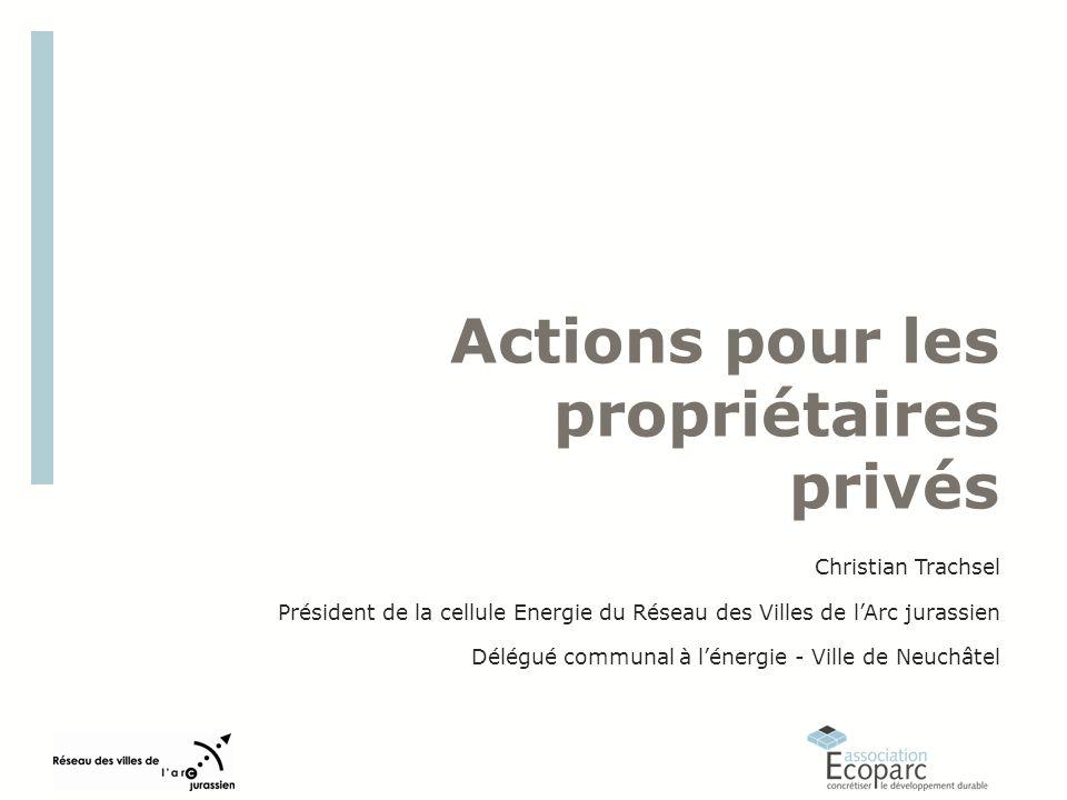 Actions pour les propriétaires privés Christian Trachsel Président de la cellule Energie du Réseau des Villes de lArc jurassien Délégué communal à lénergie - Ville de Neuchâtel
