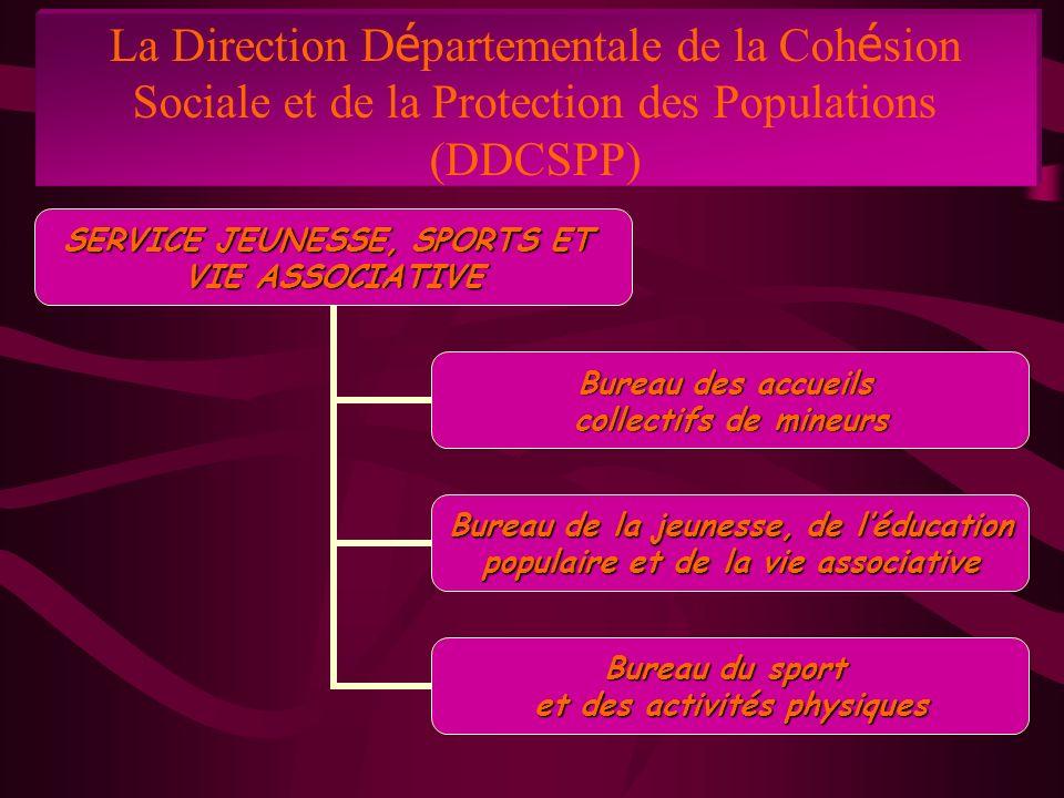 La Direction D é partementale de la Coh é sion Sociale et de la Protection des Populations (DDCSPP) SERVICE JEUNESSE, SPORTS ET VIE ASSOCIATIVE Bureau