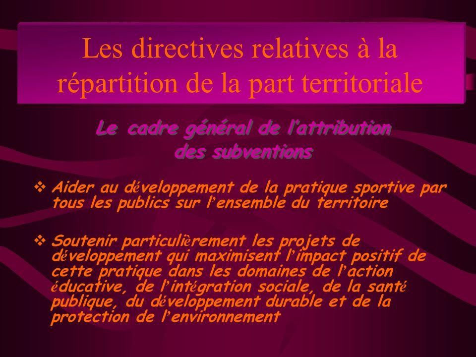 Les directives relatives à la répartition de la part territoriale Aider au d é veloppement de la pratique sportive par tous les publics sur l ensemble