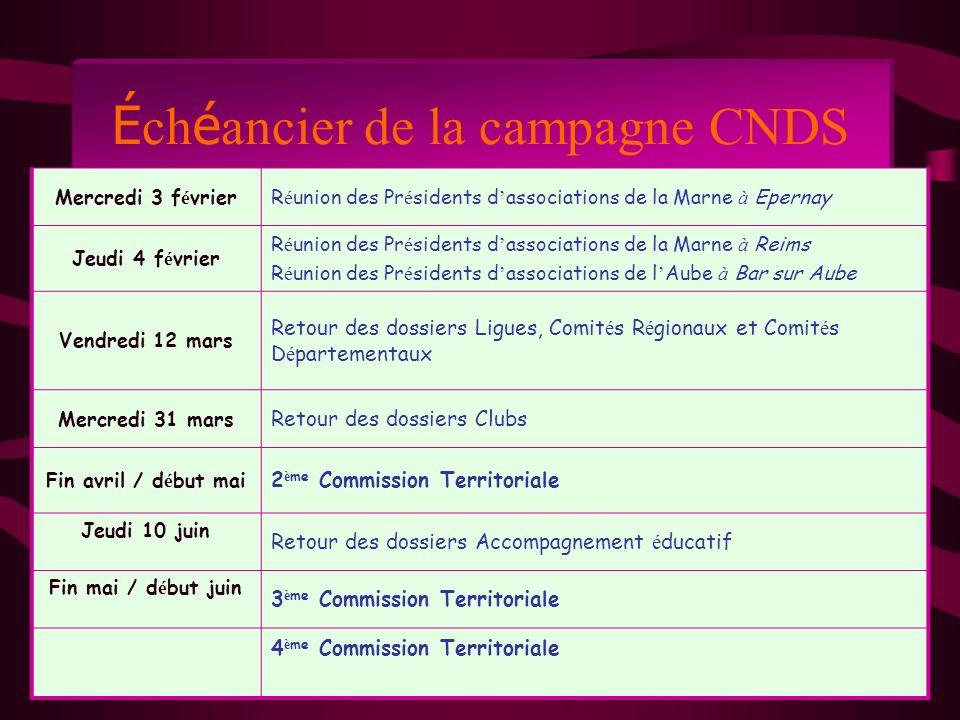 É ch é ancier de la campagne CNDS Mercredi 3 f é vrierR é union des Pr é sidents d associations de la Marne à Epernay Jeudi 4 f é vrier R é union des