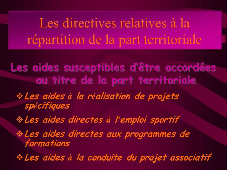Les directives relatives à la répartition de la part territoriale Les aides à la r é alisation de projets sp é cifiques Les aides directes à l emploi