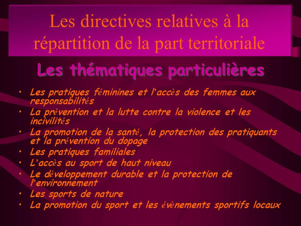 Les directives relatives à la répartition de la part territoriale Les pratiques f é minines et l acc è s des femmes aux responsabilit é s La pr é vent