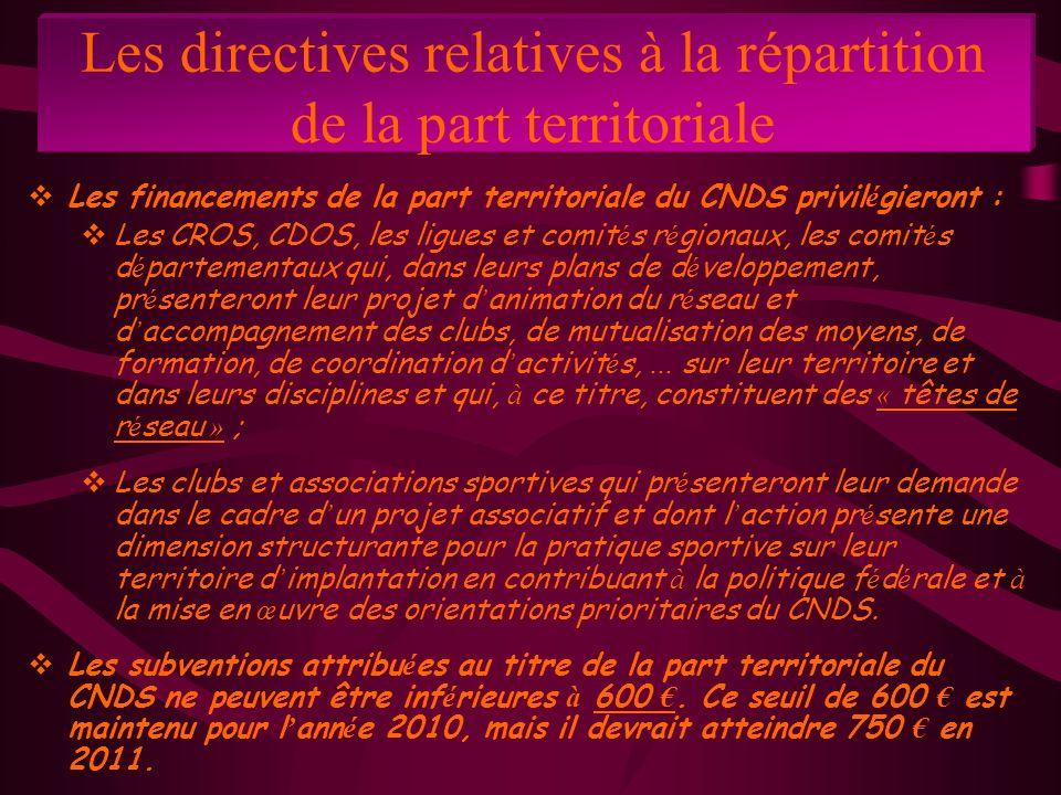 Les directives relatives à la répartition de la part territoriale Les financements de la part territoriale du CNDS privil é gieront : Les CROS, CDOS,