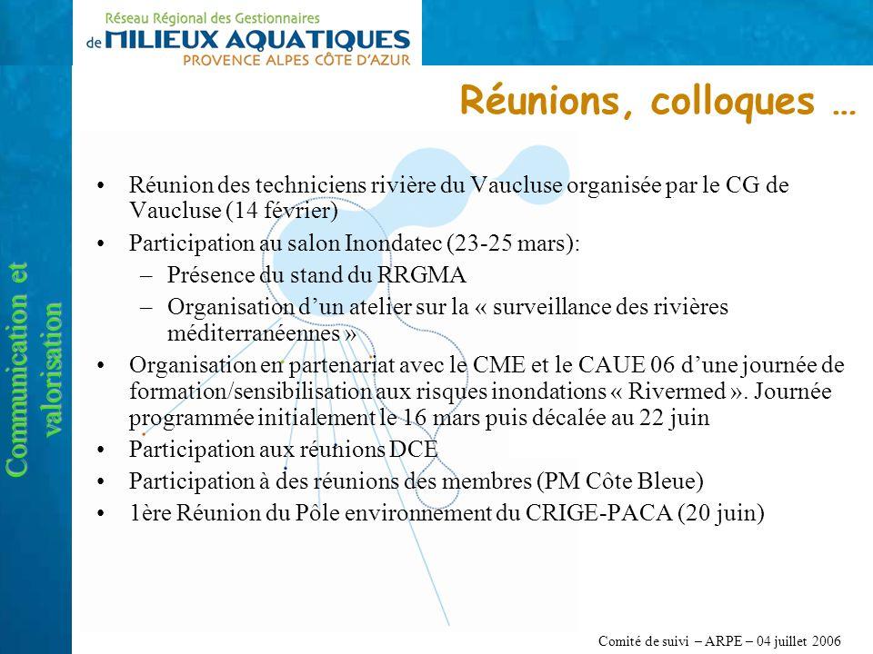 Comité de suivi – ARPE – 04 juillet 2006 Réunions, colloques … Communication et valorisation Réunion des techniciens rivière du Vaucluse organisée par