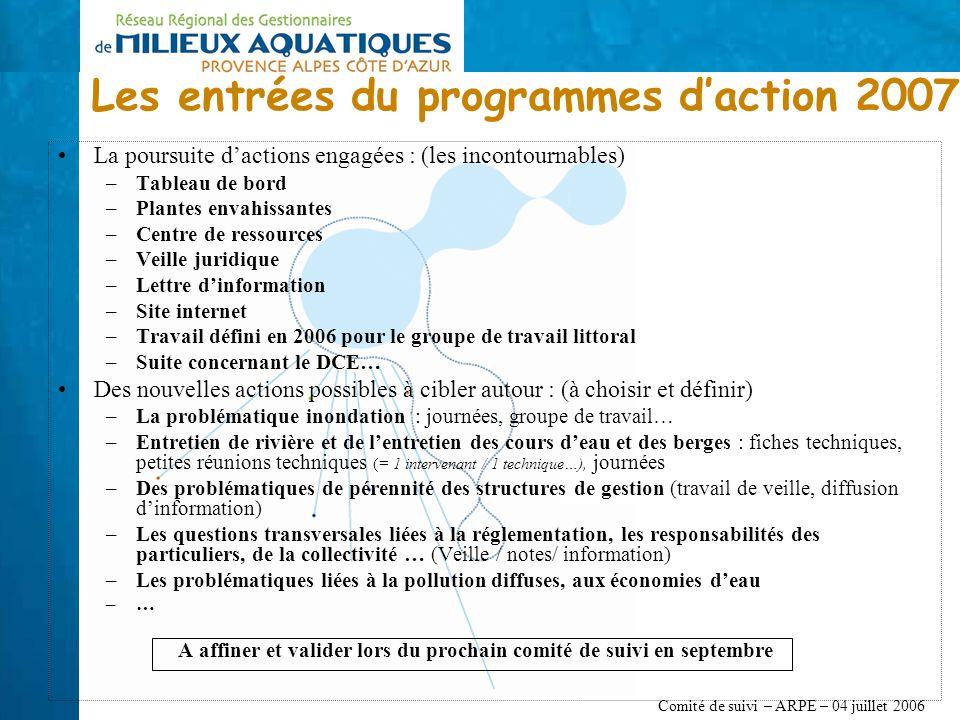 Comité de suivi – ARPE – 04 juillet 2006 La poursuite dactions engagées : (les incontournables) –Tableau de bord –Plantes envahissantes –Centre de res