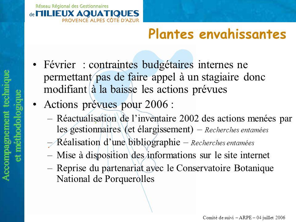 Comité de suivi – ARPE – 04 juillet 2006 Plantes envahissantes Accompagnement technique et méthodologique Février : contraintes budgétaires internes n