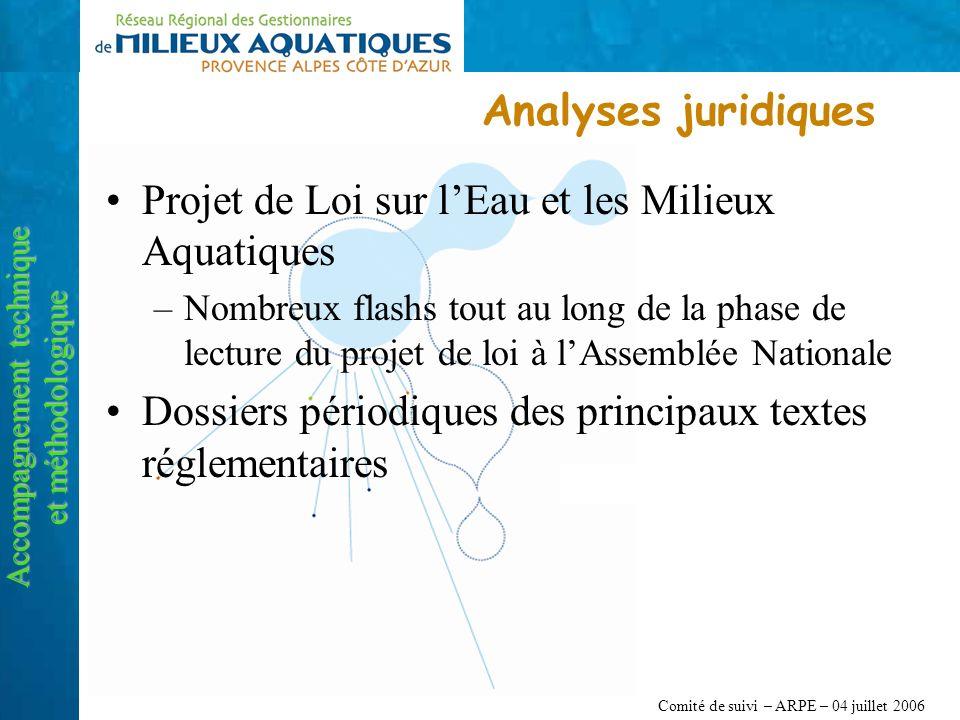 Comité de suivi – ARPE – 04 juillet 2006 Analyses juridiques Accompagnement technique et méthodologique Projet de Loi sur lEau et les Milieux Aquatiqu