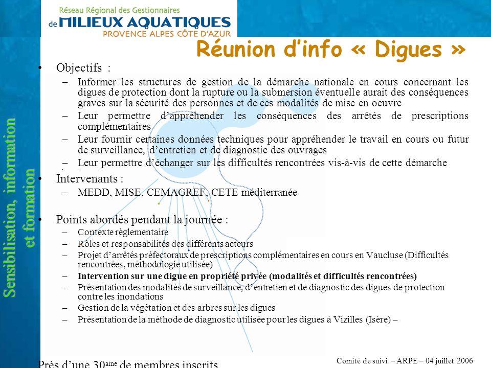 Comité de suivi – ARPE – 04 juillet 2006 Réunion dinfo « Digues » Sensibilisation, information et formation Objectifs : –Informer les structures de ge