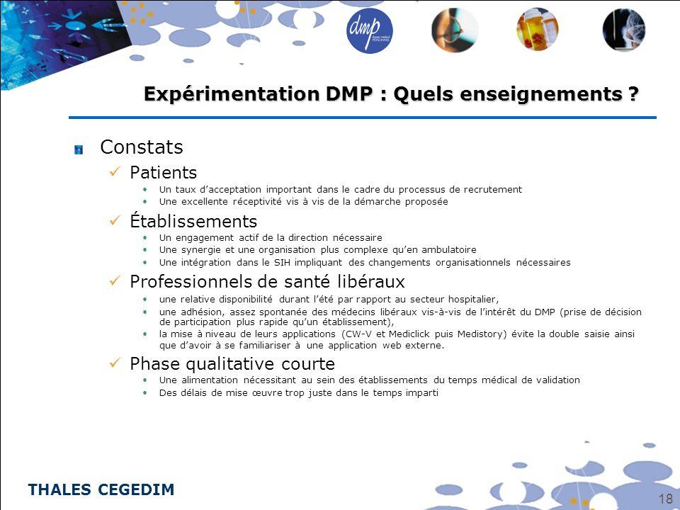 THALES CEGEDIM 18 Constats Patients Un taux dacceptation important dans le cadre du processus de recrutement Une excellente réceptivité vis à vis de l