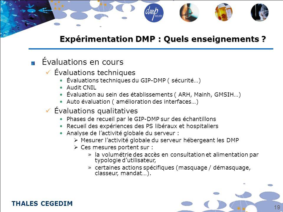 THALES CEGEDIM 19 Expérimentation DMP : Quels enseignements ? Évaluations en cours Évaluations techniques Évaluations techniques du GIP-DMP ( sécurité