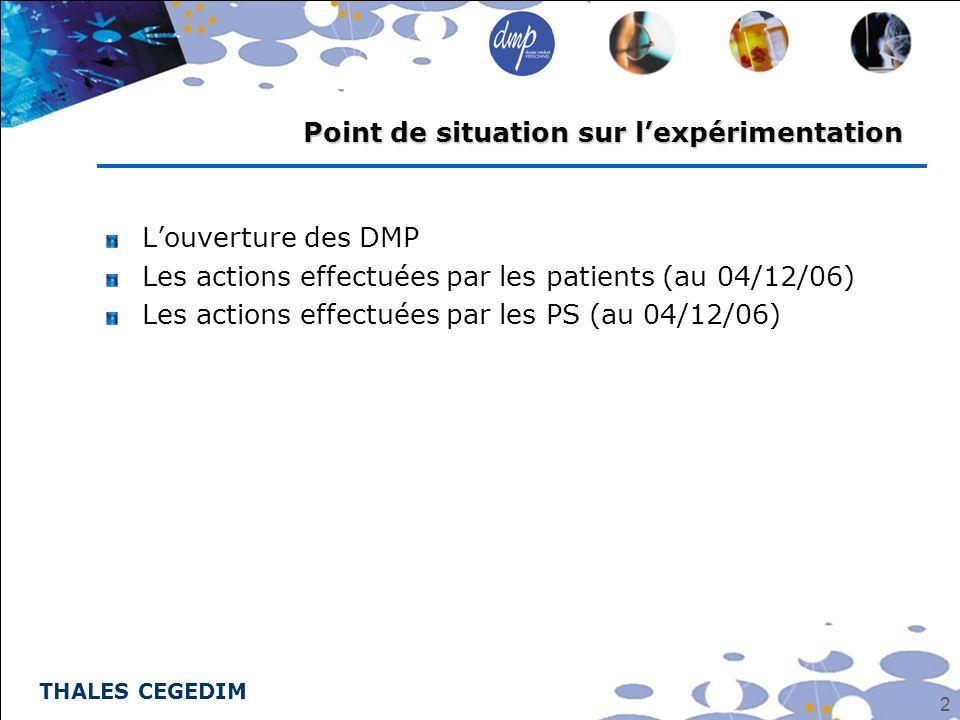 THALES CEGEDIM 2 Louverture des DMP Les actions effectuées par les patients (au 04/12/06) Les actions effectuées par les PS (au 04/12/06) Point de sit