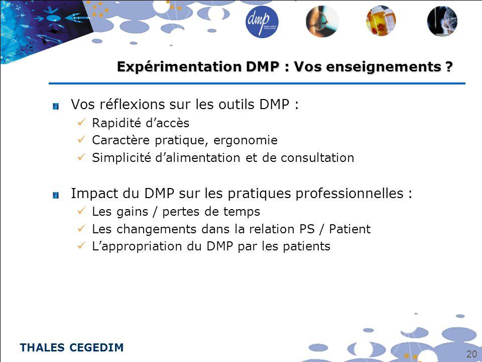 THALES CEGEDIM 20 Vos réflexions sur les outils DMP : Rapidité daccès Caractère pratique, ergonomie Simplicité dalimentation et de consultation Impact