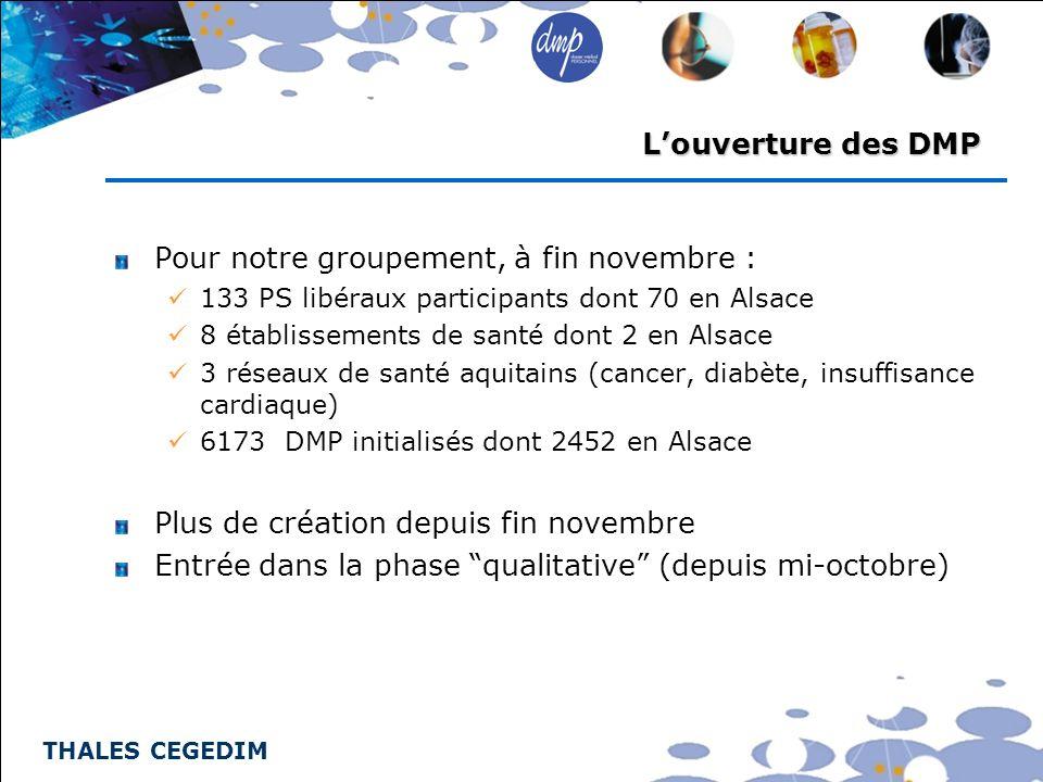 THALES CEGEDIM Louverture des DMP Pour notre groupement, à fin novembre : 133 PS libéraux participants dont 70 en Alsace 8 établissements de santé don
