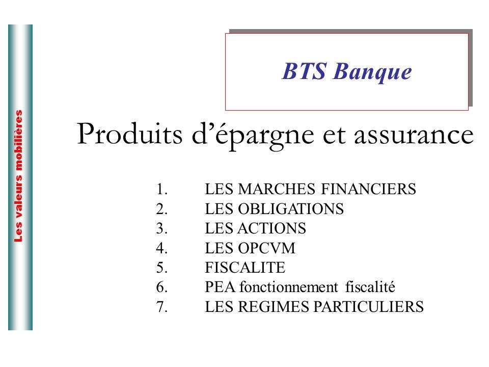Produits dépargne et assurance BTS Banque Les valeurs mobilières 1.LES MARCHES FINANCIERS 2.LES OBLIGATIONS 3.LES ACTIONS 4.LES OPCVM 5.FISCALITE 6.