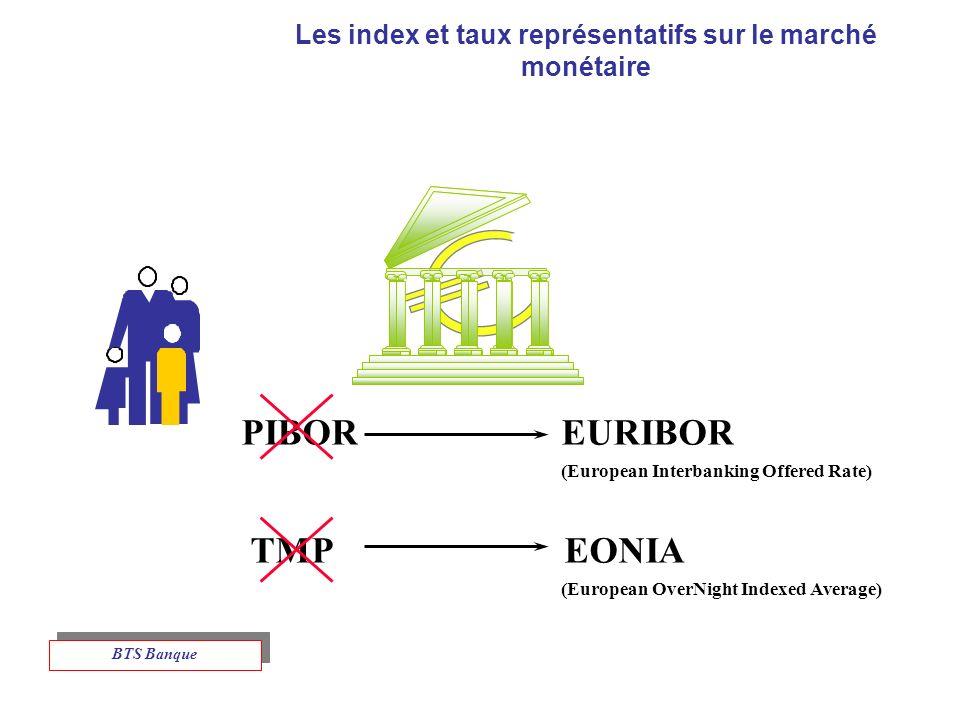 Les index et taux représentatifs sur le marché monétaire PIBOR EURIBOR (European Interbanking Offered Rate) TMP EONIA (European OverNight Indexed Average) BTS Banque
