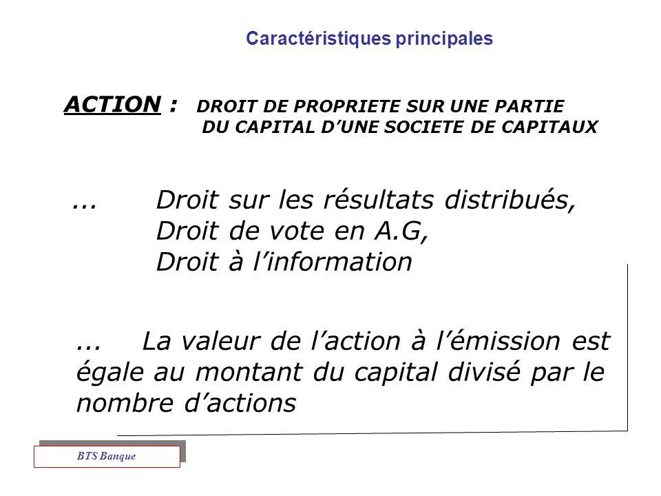 Caractéristiques principales ACTION : DROIT DE PROPRIETE SUR UNE PARTIE DU CAPITAL DUNE SOCIETE DE CAPITAUX...