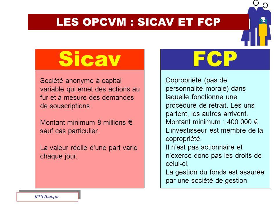 LES OPCVM : SICAV ET FCP FCP Société anonyme à capital variable qui émet des actions au fur et à mesure des demandes de souscriptions.