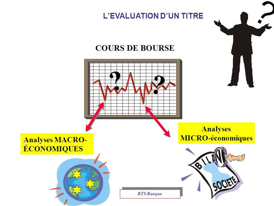 LEVALUATION DUN TITRE COURS DE BOURSE .