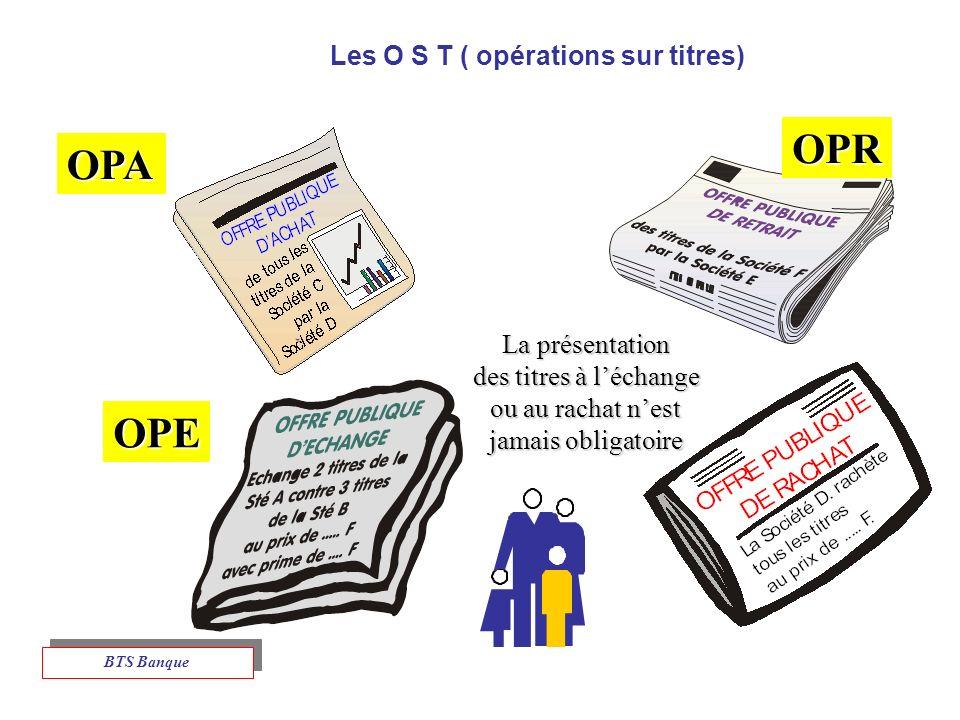 Les O S T ( opérations sur titres) OPE OPA OPR La présentation des titres à léchange ou au rachat nest jamais obligatoire BTS Banque