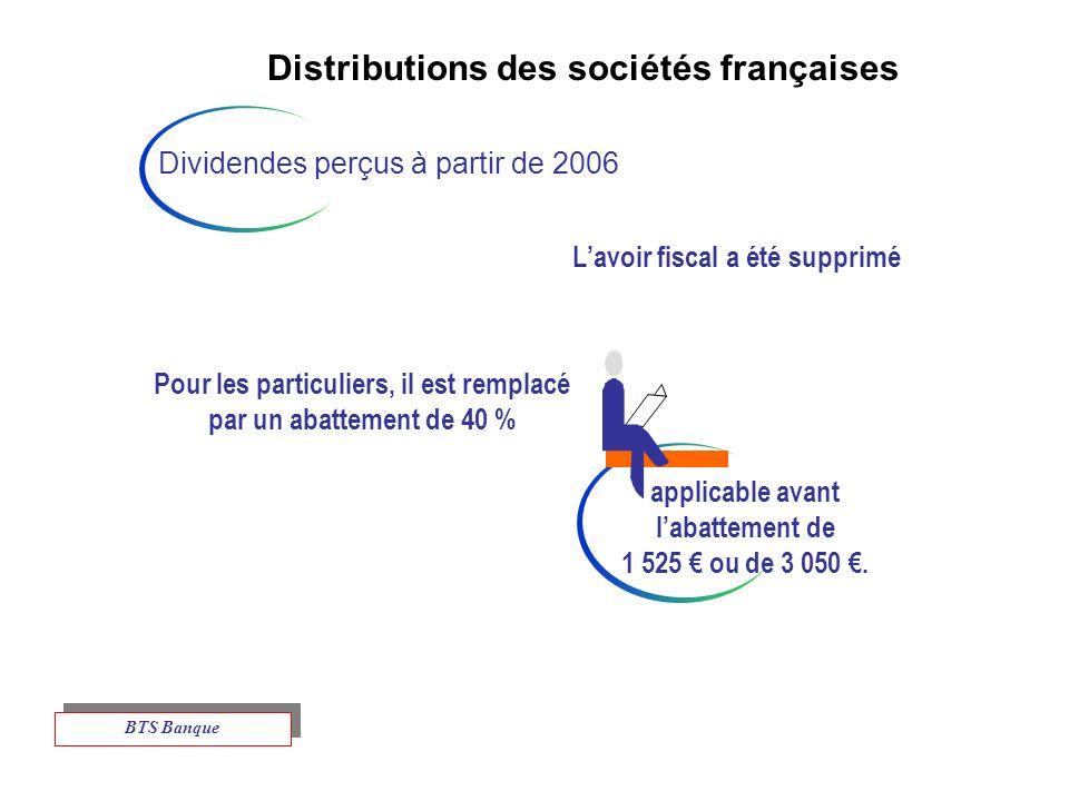 Distributions des sociétés françaises Dividendes perçus à partir de 2006 Lavoir fiscal a été supprimé Pour les particuliers, il est remplacé par un abattement de 40 % applicable avant labattement de 1 525 ou de 3 050.