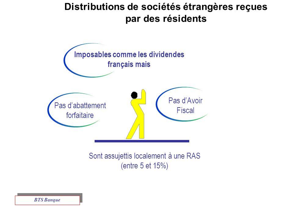 Distributions de sociétés étrangères reçues par des résidents Imposables comme les dividendes français mais Pas dAvoir Fiscal Sont assujettis localement à une RAS (entre 5 et 15%) Pas dabattement forfaitaire BTS Banque