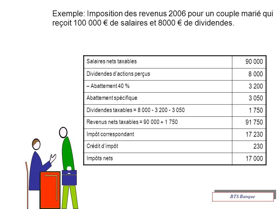 Exemple: Imposition des revenus 2006 pour un couple marié qui reçoit 100 000 de salaires et 8000 de dividendes.