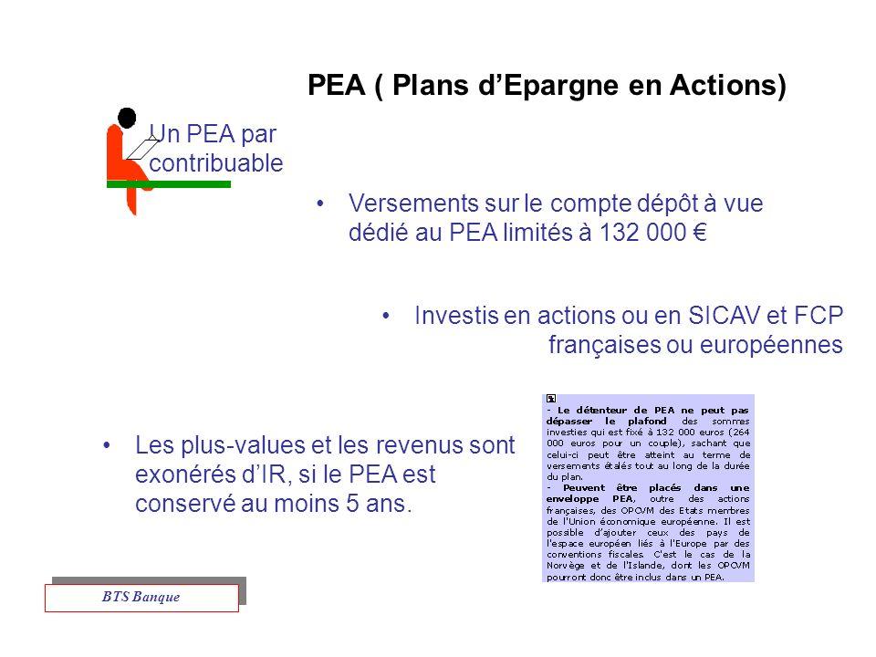 PEA ( Plans dEpargne en Actions) Un PEA par contribuable Versements sur le compte dépôt à vue dédié au PEA limités à 132 000 Investis en actions ou en SICAV et FCP françaises ou européennes Les plus-values et les revenus sont exonérés dIR, si le PEA est conservé au moins 5 ans.