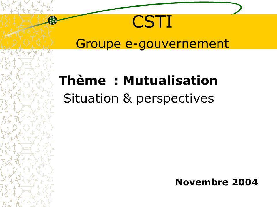 CSTI Groupe e-gouvernement Thème : Mutualisation Situation & perspectives Novembre 2004