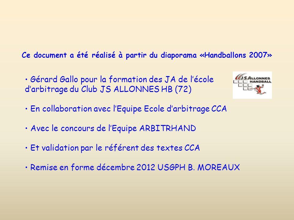 Ce document a été réalisé à partir du diaporama «Handballons 2007» Gérard Gallo pour la formation des JA de lécole darbitrage du Club JS ALLONNES HB (