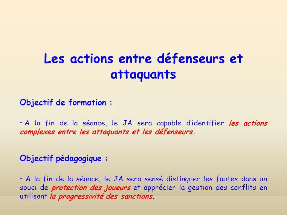 Les actions entre défenseurs et attaquants Objectif de formation : A la fin de la séance, le JA sera capable didentifier les actions complexes entre les attaquants et les défenseurs.