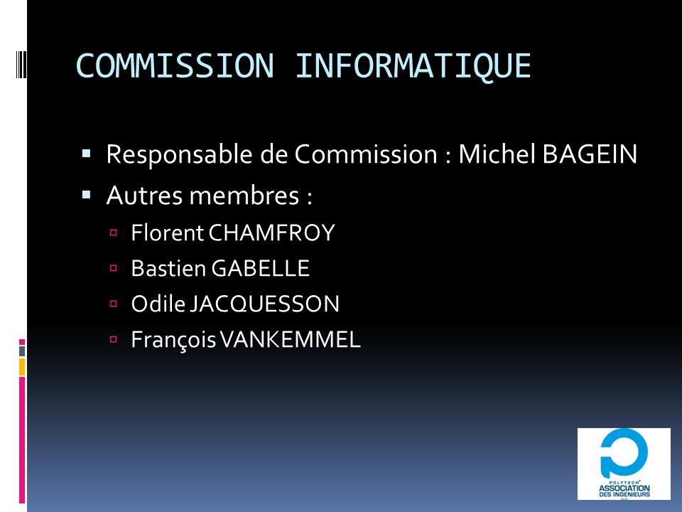 COMMISSION INFORMATIQUE Responsable de Commission : Michel BAGEIN Autres membres : Florent CHAMFROY Bastien GABELLE Odile JACQUESSON François VANKEMMEL
