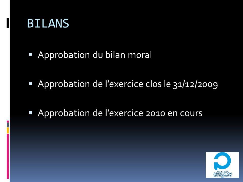 BILANS Approbation du bilan moral Approbation de lexercice clos le 31/12/2009 Approbation de lexercice 2010 en cours