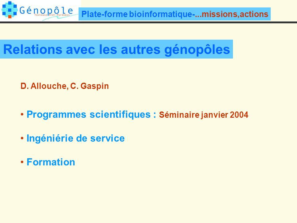 Relations avec les autres génopôles Programmes scientifiques : Séminaire janvier 2004 Ingéniérie de service Formation D.